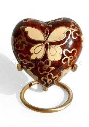 Golden Butterfly Heart Keepsake Urn for Ashes