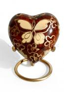 Golden Butterfly Heart Keepsake Urn for Ashes