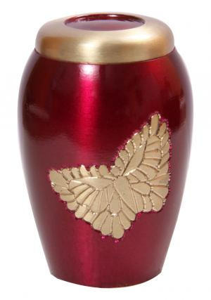 Lovely Golden Soaring Butterfly Pink Small Keepsake Urn