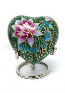 Green Floral Heart Keepsake Mini Container for Cremation Ashes.