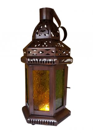 Set of  5 - Green and Yellow Glass Moroccan Lantern