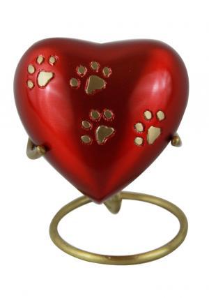 Mini Keepsake Pewter Pet Heart Shaped Red Funeral Urn.