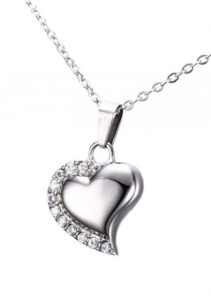 Heart White Crystals Cremation Jewellery Pendant, Necklace