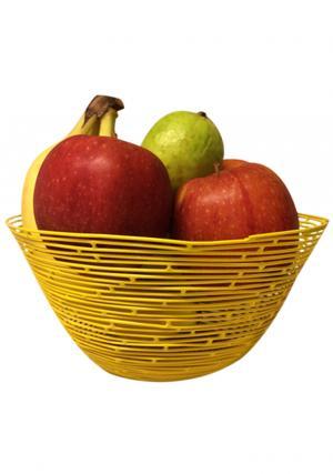 Yellow Color Iron Wire Round Storage Basket, Wire Storage Basket
