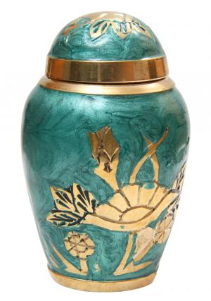 Jade Green Aylesbury Floral Small Cremation Urn