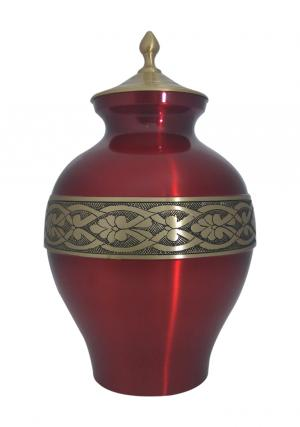 Large Golden Band Engraved Matt Cherry Adult Urn For Ashes