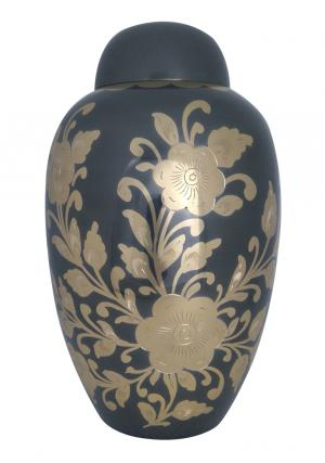 Large Golden Floral Decorative Black Adult Urn Ashes