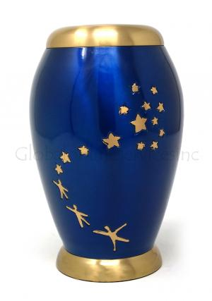 Large Majestic Blue Star Flat Top Floral Adult Funeral Urns Ashes for Human