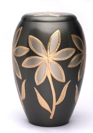 Large Majestic Lilies Brass Adult Memorial Cremation Urns Ashes