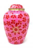 Large Pink Flowers Brass Cremation Urn for Human Ashes