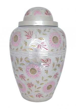 Large Pink & White Floral Cremation Adult Urn Ashes for Human
