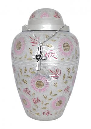 Large Pink and White Floral Cremation Adult Urn Ashes for Human + FREE Pendant Jewellery urn