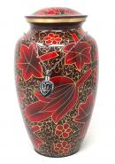 Large Red Flower Petals Cremation Urn for Ashes+ Free jewellery Urn