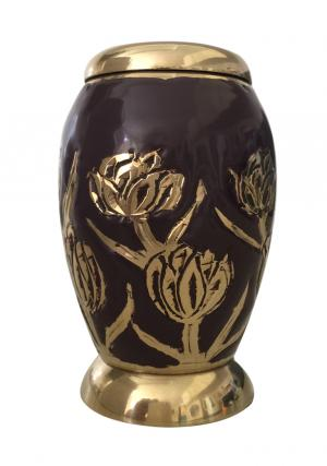 Maroon with Tulips Small Keepsake Urn