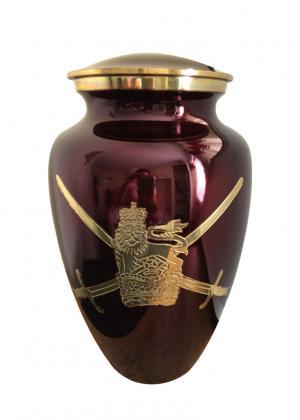 Military Symbol Maroon Cremation Adult Urn