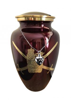 Military Symbol Maroon Cremation Adult Urn+ Free jewellery Urn