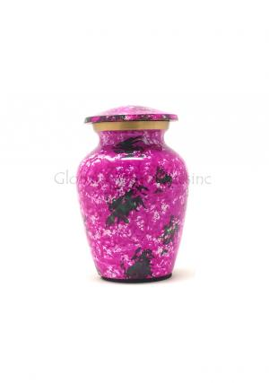 Mini Garden Flowers Pink Brass Cremation Urn for Keepsake Cremation Ashes.