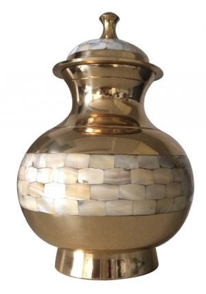 Mother Of Pearl Brass Adult Urn
