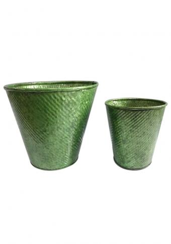 Pack of 2 Coated Glossy Green Metal Buckets / Galvanised Planter