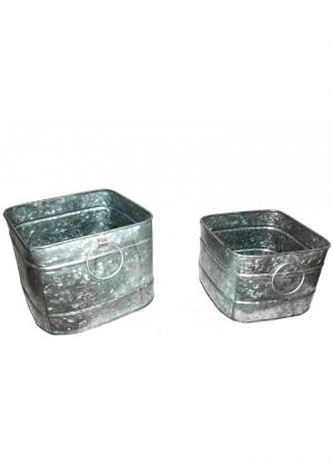 Pack of 2 Galvanised Tapered Bucket with Handles