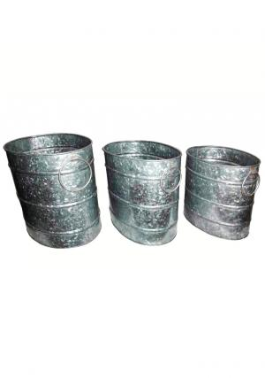 Pack of 3 Galvanised Tall Round Planters with 2 Side Handles