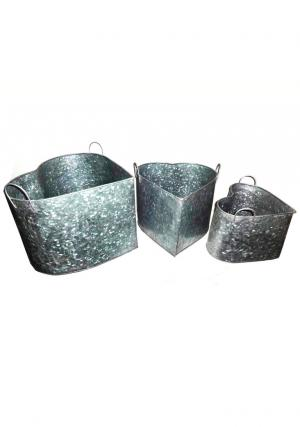 Pack of 3 Galvanized Heart Shape Planter with 2 Side Handles