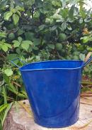 Pack of 3 Glossy Blue Metal Buckets