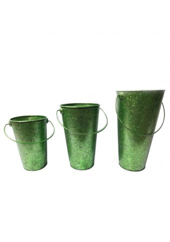 Pack of 3 Glossy Green Metal Buckets