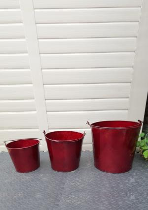 Pack of 3 Glossy Red Metal Buckets