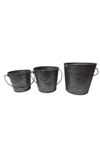 Pack of 3 Trendy style Galvanised Metal Buckets