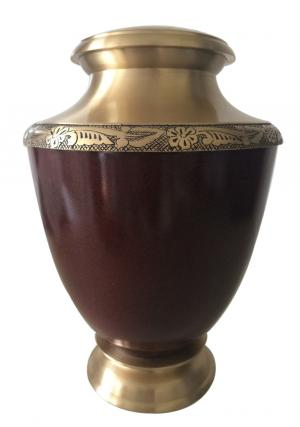 Maroon Finish Antique Hand Engraved Border Adult Urn