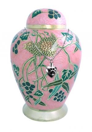 Pink Garden Design Large Adult  Funeral Urn For Ashes+ Free jewellery urn
