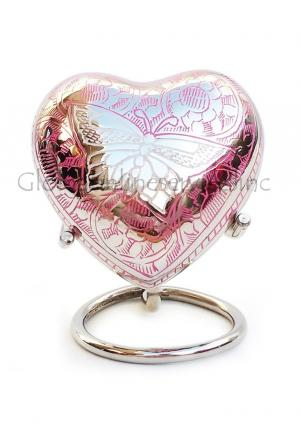 Portland Pink Heart Keepsake Urn with Stand