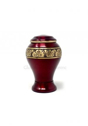 Red Classic Leaf Band Small Keepsake Urn/container for Funeral Ashes