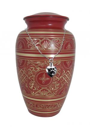 Red and Silver Detailed Decorative Human Adult Urn Ashes+ Free jewellery Urn