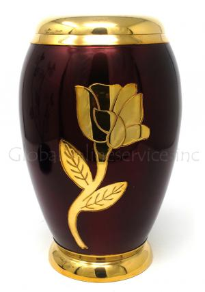 Red-gold Flower Brass Funeral Cremation Urn for Adult