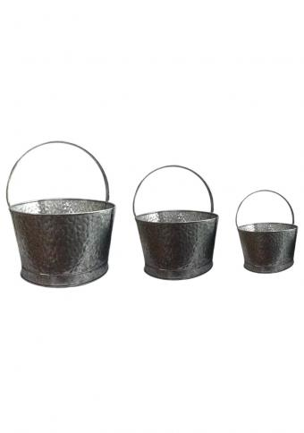 Retro style Acid Wash Galvanised Planters Pack of 3, Galvanised Buckets