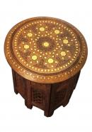 Round  Wooden Table with Flower design