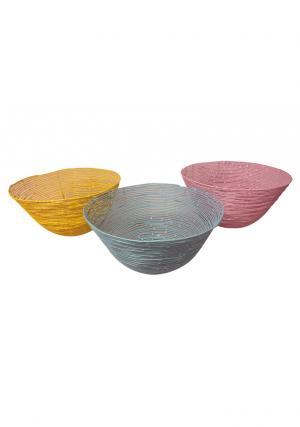 Set of 3 Iron Wire Round Storage Baskets in Yellow, Green, Pink