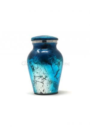 Shiny Blue Aluminium Keepsake Cremation Urn for Ashes