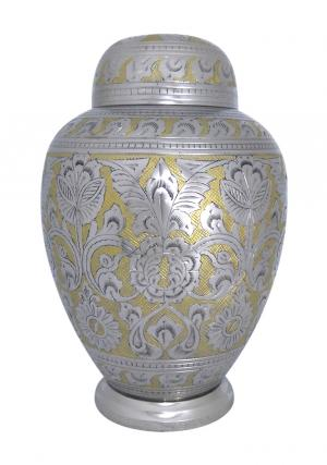 Silver Dynasty Dome Top Adult Memorial Urn for Funeral