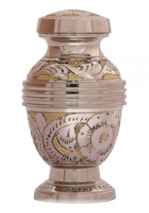 Silver Flower Engraved Golden Mini Urn