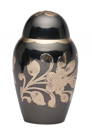 Small Black & Gold Floral Keepsake Memorial Urn