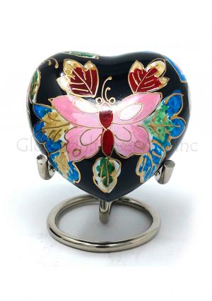 Small Butterfly Heart Keepsake Funeral Urn.