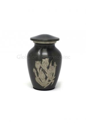 Small Gray Keepsake Rose Urn for Funeral Ashes of Human