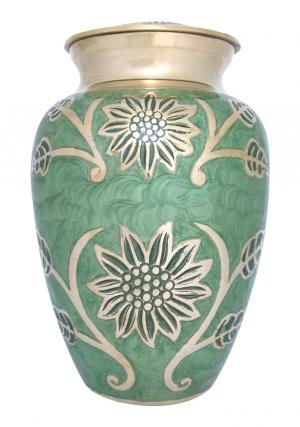 Sunflower Engraved Gorgeous Green Big Memorial Urn