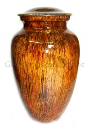 Sunrise Glassy Finish Aluminium Large Cremation Urn for Ashes.