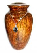 Sunrise Glassy Finish Aluminium Large Cremation Urn for Ashes+ Free jewellery Urn