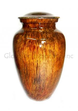 Sunrise Glassy Finish Aluminium Medium Cremation Urn for Ashes.