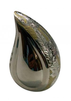 Wattan Nickel Engraved Teardrop Keepsake Urn